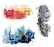 Watercolor set with red, blue and grey splash and gold glitter on white background. The color splashing in the paper vector illustration