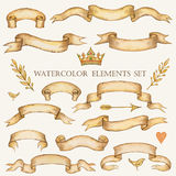 Watercolor set of ribbons Royalty Free Stock Image
