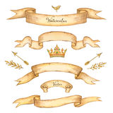 Watercolor set of ribbons Royalty Free Stock Photos