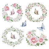 Watercolor set of rose wreaths and bouquets Stock Photos
