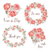 Watercolor set of rose wreaths and bouquets Royalty Free Stock Photography
