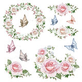 Watercolor set of rose wreaths and bouquets Stock Photo