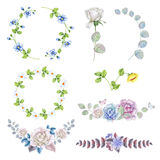 Watercolor set of rose wreaths and bouquets Royalty Free Stock Photo