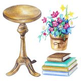 Watercolor set with round chair, pot with flowers and books royalty free illustration