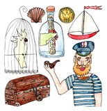 Watercolor set about sea adventures. Watercolor set of captain, parrot, treasure, ship and bottle with letter stock illustration