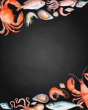 Watercolor set of seafood Stock Photography