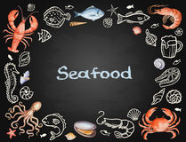 Watercolor set of seafood Royalty Free Stock Images