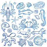 Watercolor set of seafood Stock Photos