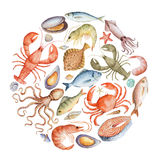 Watercolor set of seafood. Stock Image