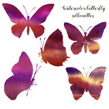 Watercolor set with silhouette of butterfly. Hand painted insect collection isolated on white background. Illustration Stock Photos