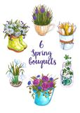 Watercolor set of spring bouquets in original vases. royalty free illustration