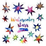 Watercolor set of stars. Royalty Free Stock Photography