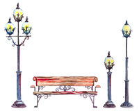 Watercolor set of street lanterns and bench Stock Images