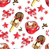 Watercolor set of sweets for holiday - Christmas seamless pattern. Royalty Free Stock Photo