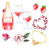 Watercolor set of symbols for valentines day or engagement. vector illustration
