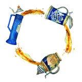 Watercolor set of three bavarian beer ceramic mugs in circle with beer splash vector illustration