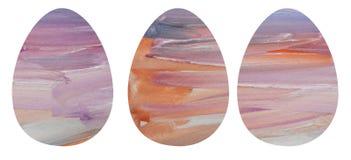 Watercolor set of three textured eggs. stock illustration