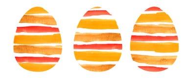 Watercolor set of three orange textured  eggs. vector illustration