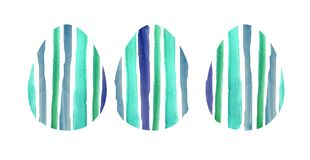 Watercolor set of three blue textured  eggs royalty free illustration