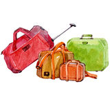 Watercolor set of travel bags isolated Royalty Free Stock Photos