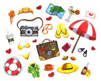 Watercolor set of travel icons. Doodle icons about travel Watercolor painting on white paper Royalty Free Stock Photo