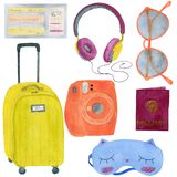 Watercolor set of travel illustrations royalty free illustration