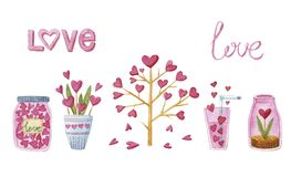 Watercolor set with tree, heart, plant, vessels and love. St. Valentin Royalty Free Stock Images