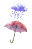Watercolor set of umbrellas,  cloud, heavy rain. Umbrellas from a rain, female umbrellas. Vector Stock Photos