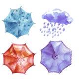 Watercolor set of umbrellas, cloud, heavy rain. Umbrellas from a Stock Photos