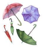 Watercolor set of umbrellas. Umbrellas from a rain Royalty Free Stock Photography