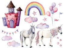 Watercolor set with unicorns and fairy tale decor. Hand painted magic horses, castle, rainbow, clouds, stars and air Stock Photo