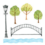 Watercolor set of urban elements. Royalty Free Stock Images