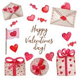 Watercolor set for Valentine`s Day royalty free illustration