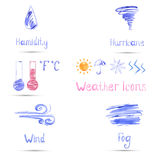 Watercolor set of weather icons. Vector Vector Illustration
