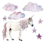Watercolor set with white unicorn and decor. Hand painted magic horse, clouds and stars isolated on white background