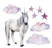 Watercolor set with white unicorn. Hand painted magic horse, clouds and stars isolated on white background. Fairytale