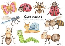 Free Watercolor Set With Baby Cute Cartoon Insects. Royalty Free Stock Photography - 146818997