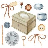 Watercolor Set With Vintage Subjects And Elements Royalty Free Stock Image