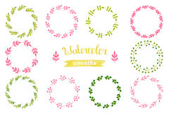Watercolor set of wreaths, frame, border. Ribbon, label, floral elements. Hand drawn watercolor design elements  on white background Royalty Free Stock Image