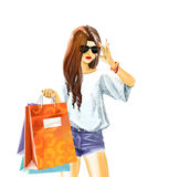 Watercolor Sexy woman with shopping bags. Beautiful sexual elegant girl in summer clothes with sunglasses. Woman holds a few shopping bags. Watercolor digital Royalty Free Stock Photography