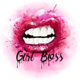 Watercolor women pink lips. Vector royalty free stock photos