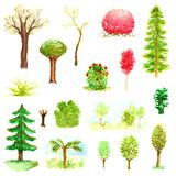 Watercolor shades forest trees and bushes brown wood park garden leaves plants greens spring nature set isolated. Watercolor shades forest trees and bushes brown stock illustration