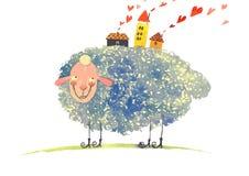 Watercolor sheep, vector illustration Royalty Free Stock Image
