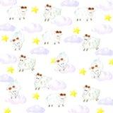 Watercolor sheeps, υπόβαθρο αστεριών και σύννεφων ελεύθερη απεικόνιση δικαιώματος