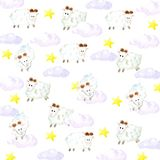 Watercolor sheeps, stars and clouds background royalty free illustration