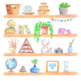 Watercolor shelf with objects Stock Photos