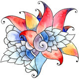 Watercolor shell flower Stock Photos
