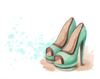 Watercolor shoes illustration Stock Photos