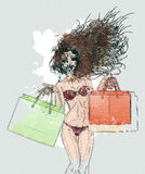 Watercolor shopping bikini girl Royalty Free Stock Photos