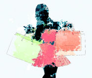 Watercolor shopping girl silhouette Stock Photos